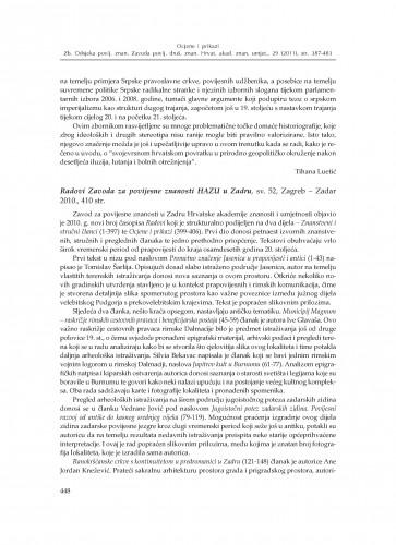 Radovi Zavoda za povijesne znanosti HAZU u Zadru, sv. 52, Zadar - Zagreb 2010. : [prikaz] : Zbornik Odsjeka za povijesne znanosti Zavoda za povijesne i društvene znanosti Hrvatske akademije znanosti i umjetnosti
