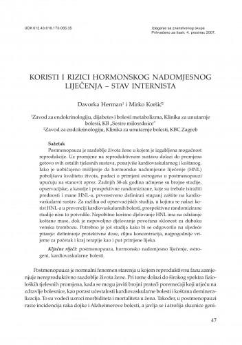Koristi i rizici hormonskog nadomjesnog liječenja - stav internista : Posebna izdanja HAZU. Prilozi za strategiju hrvatskog razvoja