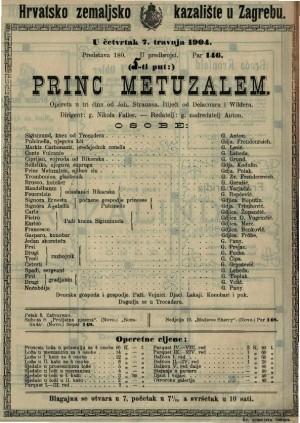 Princ Metuzalem opereta u tri čina / od Joh. Straussa