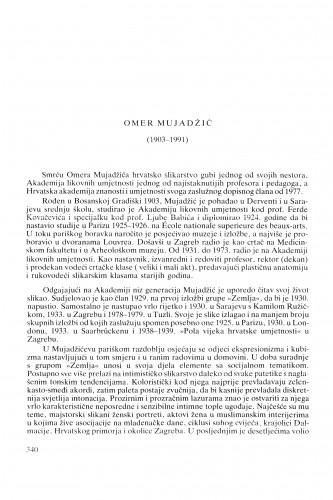 Omer Mujadžić (1903-1991) : [nekrolozi] / Kruno Prijatelj