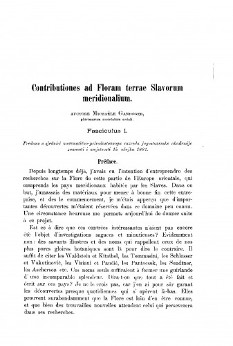 Contributiones ad Floram terrae Slavorum meridionalium