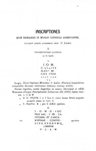 Inscriptiones quae Zagrabiae in Museo nationali asesrvantur : RAD