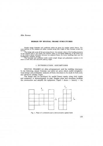 Design of spatial frame structures