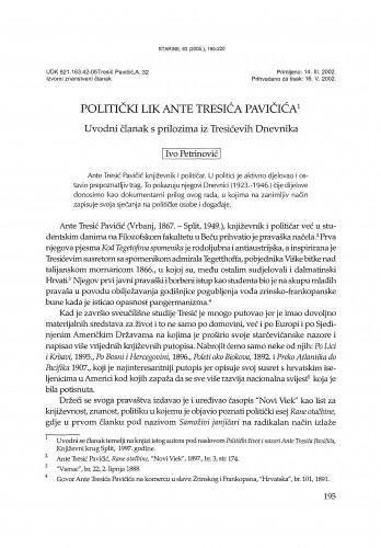 Politički lik Ante Tresića Pavičića : uvodni članak s prilozima iz Tresićevih Dnevnika / Ivo Petrinović