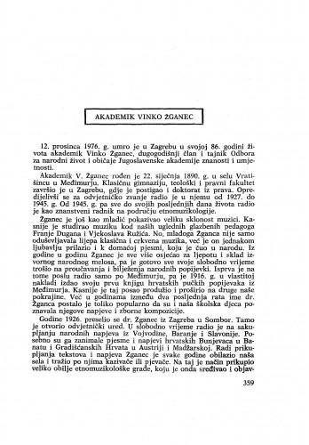 Akademik Vinko Žganec : [nekrolog] / M. Marković