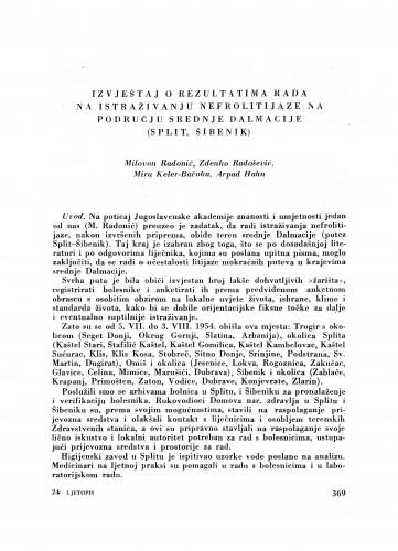 Izvještaj o rezultatima rada na istraživanju nefrolitijaze na području srednje Dalmacije (Split, Šibenik) / M. Radonić, Z. Radošević, M. Keler-Bačoka i A. Hahn