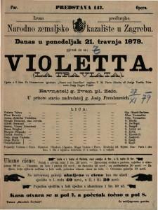 Violetta opera u 3 čina / glasba od Josipa Verdia  =  La Traviata