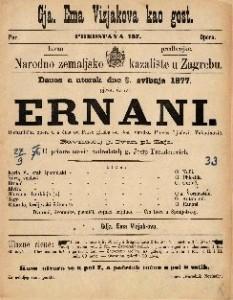 Ernani romantična opera u 4 čina / glasba od Jos. Verdi-a