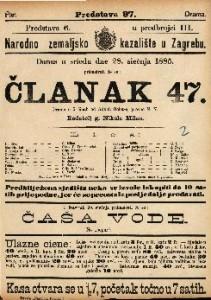 Članak 47. Drama u 5 činah / od Adolfa Belot-a