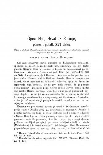 Gjuro Hus, Hrvat iz Rasinje, glasovit putnik XVI. vieka : RAD