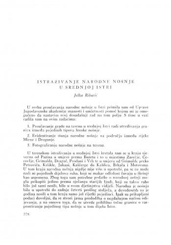 Istraživanje narodne nošnje u srednjoj Istri / J Ribarić