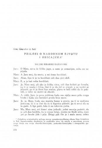 Prilozi o narodnom životu i običajima : saljski ribarski razgovori / Š. Grandov