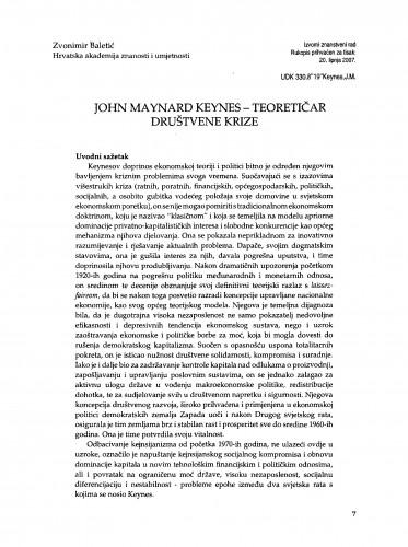 John Maynard Keynes - teoretičar društvene krize