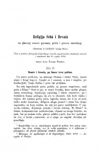 Religija Srbâ i Hrvatâ na glavnoj osnovi pjesama, priča i govora narodnog