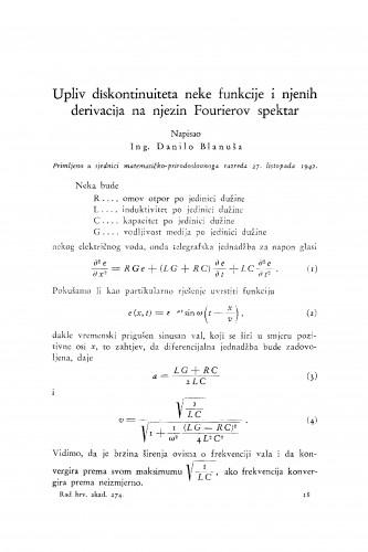 Upliv diskontinuiteta neke funkcije i njenih derivacija na njezin Fourierov spektar