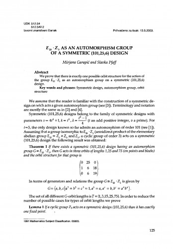 E!<!SUB!>25!</SUB!>.Z!<!SUB!>3!</SUB!> as an automorphism group of a symmetric (101,25,6) design