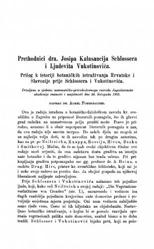 Prethodnici dra Josipa Kalasancija Schlossera i Ljudevita Vukotinovića