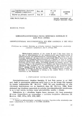 Gornjopleistocenska fauna mekušaca šandalje II kod Pule (Istra)