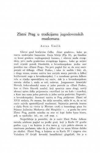 Zlatni Prag u tradicijama jugoslavenskih muslomana / A. Šimčík