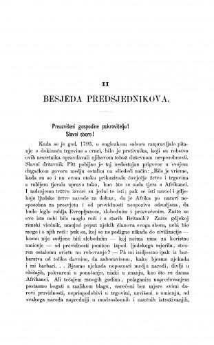 Prva svečana sjednica Jugoslavenske akademije znanosti i umjetnosti dne 28. srpnja 1867 : [2. Besjeda predsjednikova; 3. Izvještaj tajnikov] : RAD