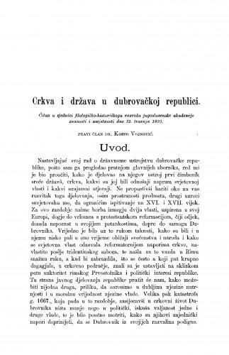 Crkva i država u dubrovačkoj republici. [Primjetbe]