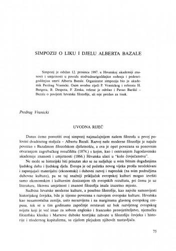 Simpozij o liku i djelu Alberta Bazale : uvodna riječ