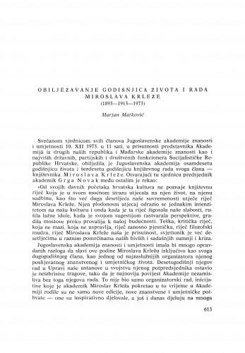 Obilježavanje godišnjica života i rada Miroslava Krleže (1893-1913-1973) : [izvještaji i rasprave] / M. Matković
