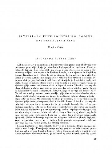 Izvještaj o putu po Istri 1949. godine (Labinski kotar i Kras) / B. Fučić