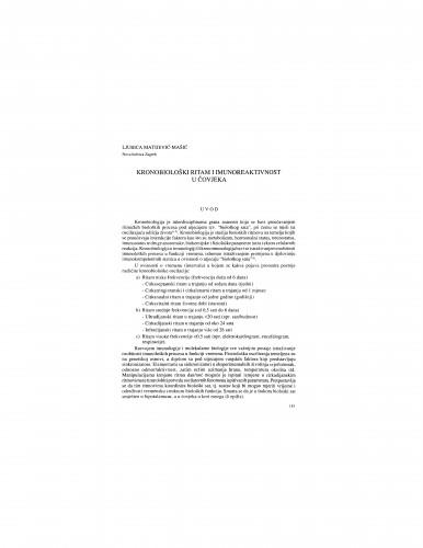 Kronobiološki ritam i imunoreaktivnost u čovjeka