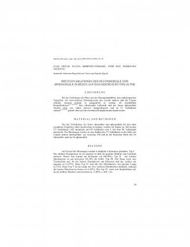 Breitenvariationen des Os ethmoidale und sphenoidale in Bezug auf das Geschlecht und Alter