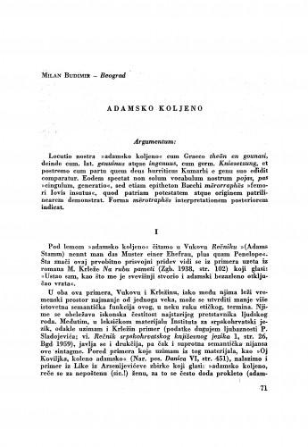 Adamsko koljeno / M. Budimir
