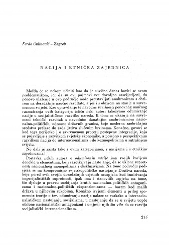 Nacija i etnička zajednica / F. Čulinović