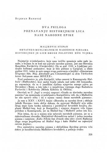 Dva priloga poznavanju historijskih lica naše narodne epike / S. Banović