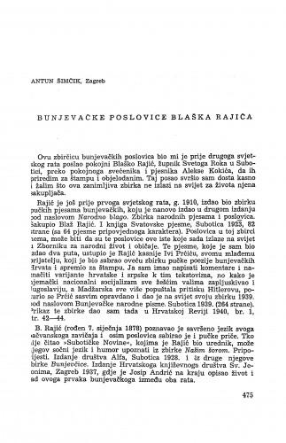 Bunjevačke poslovice Blaška Rajića / A. Šimčik