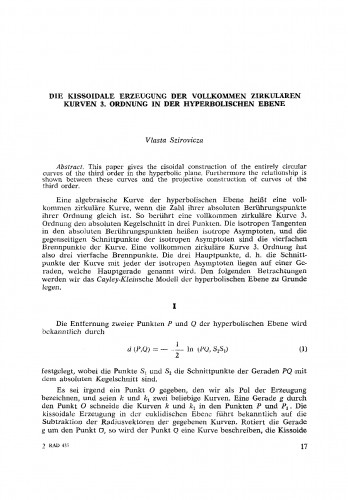 Die kissoidale Erzeugung der vollkommen zirkulaeren Kurven 3. Ordnung in der hyperbolischen Ebene