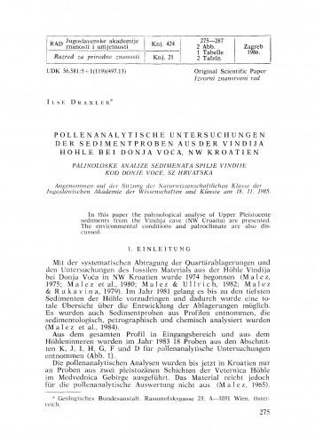Pollenanalytische Untersuchungen der Sedimentproben aus der Vindija Hoehle bei Donja Voča, NW Kroatien
