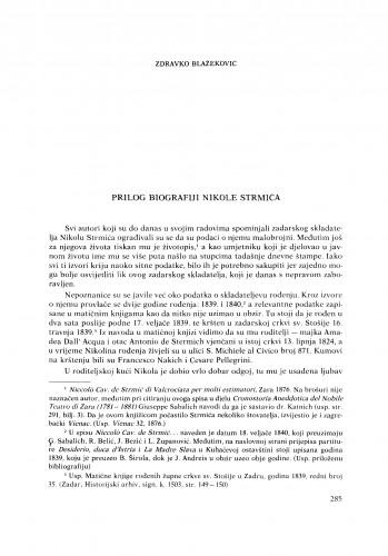 Prilog biografiji Nikole Strmića