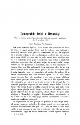 Demografski izvidi u Hrvatskoj