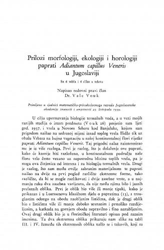 Prilozi morfologiji, ekologiji i horologiji paprati Adiantum capillus Veneris u Jugoslaviji
