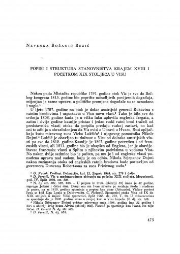 Popisi i struktura stanovništva krajem XVIII i početkom XIX stoljeća u Visu / N. Božanić Bezić