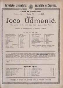 Joco Udmanić pučka opereta u tri čina (četiri slike) / riječi i glazba od Gjure Prejca