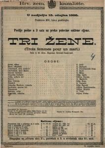 Tri žene : Šala u tri čina / Napisao Grenet-Dancourt