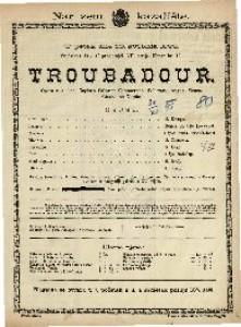 Troubadour Opera u 4 čina / Glazba od Verdia