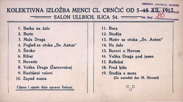 Kolektivna izložba Menci Cl. Crnčić od 5-15.XII.1917.