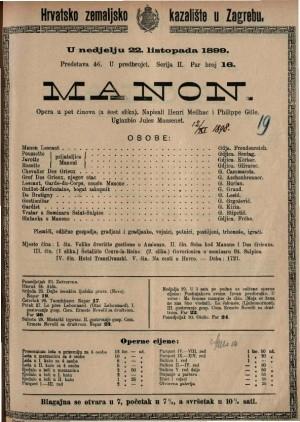 Manon opera u pet činova (a šest slika) / uglazbio Jules Massenet