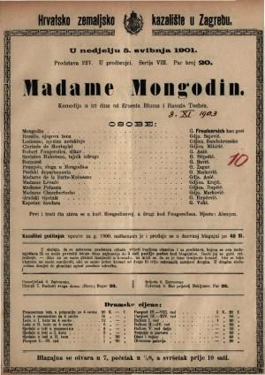 Madame Mongodin komedija u tri čina / od Ernesta Bluma i Roula Tochéa