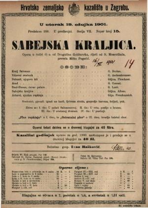Sabejska kraljica opera u četiri čina / od Dragutina Goldmarka