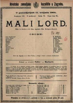 Mali lord slika iz života u tri čina / napisala Mrs. Hodgson-Burnett