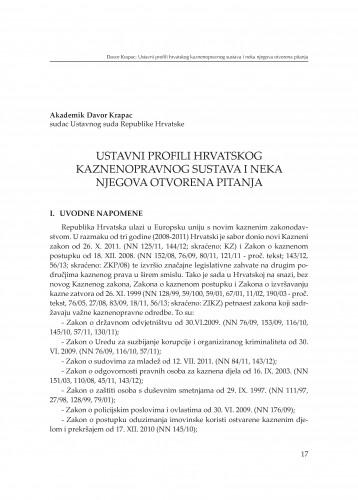 Ustavni profili hrvatskog kaznenopravnog sustava i neka njegova otvorena pitanja : [izlaganje] : Modernizacija prava