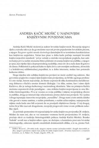 Andrija Kačić Miošić u najnovijim književnim povjesnicama